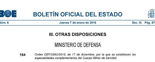 El Ministerio de Defensa crea la Especialidad de Medicina de Urgencias y Emergencias en España