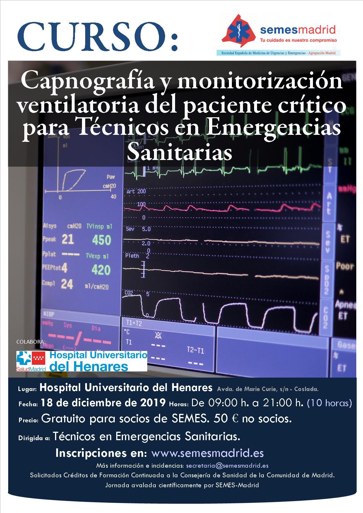 Curso capnografía y monitorización del paciente crítico para TES