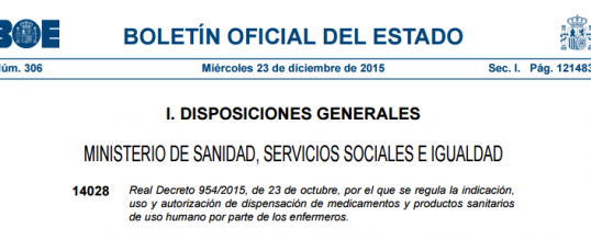 Posicionamiento de SEMES respecto al Real Decreto 954/2015 de prescripción enfermera