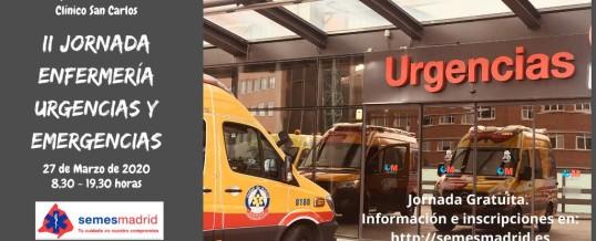 II JORNADA DE ENFERMERIA DE URGENCIAS Y EMERGENCIAS #Enfsemesmad20