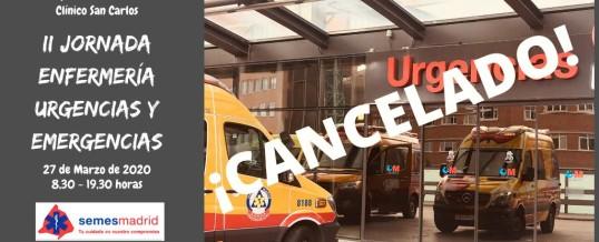 Suspensión de la II Jornada de Enfermería de Urgencias y Emergencias SEMES Madrid