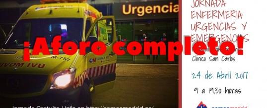 El proximo 24 de abril se celebrara la I Jornada de Enfermería de Urgencias y Emergencias de Madrid