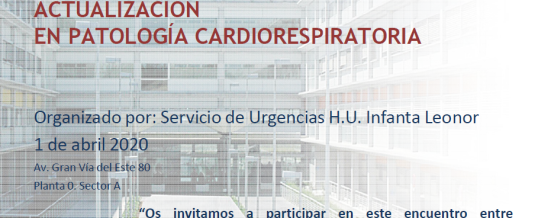 I JORNADA DE MONOGRAFÍAS EN URGENCIAS – ACTUALIZACIÓN EN PATOLOGÍA CARDIORRESPIRATORIA